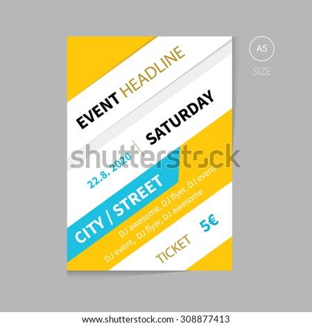 Vector Event Brochure Flyer Template Design Stock Vector Royalty