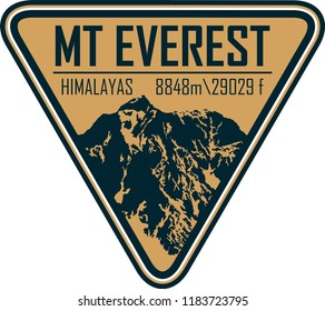 Vector Everest mountain logo. Emblem with highest peack in world. Mountaineering label illustration.