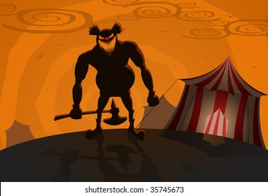 Vector evil clown with circus on background, Halloween theme