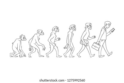 Vector evolution concept with monochrome ape to man growth process with monkey, caveman to businessman in suit holding suitcase using smartphone. Mankind development, darwin theory