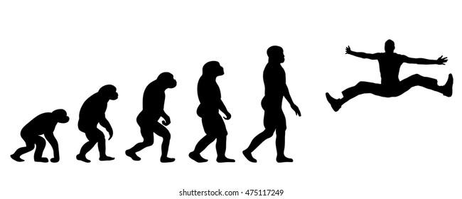 Vector evolution sport silhouette on white background