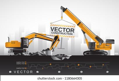 Vector excavator with boom crane, construction equipment.