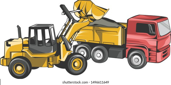 Vector Excavator and Truck Construction Vehicle