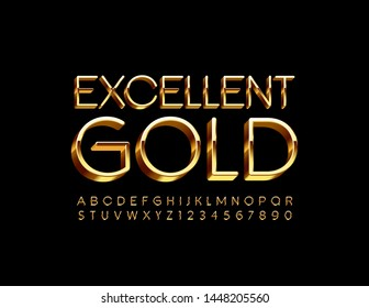 Vector Excellent Gold 3D Font. Luxury Uppercase Alphabet. Elite Letters and Numbers set