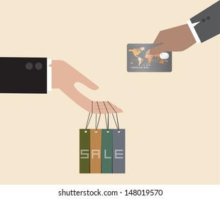 Vector of Exchange between discount tag and Credit card