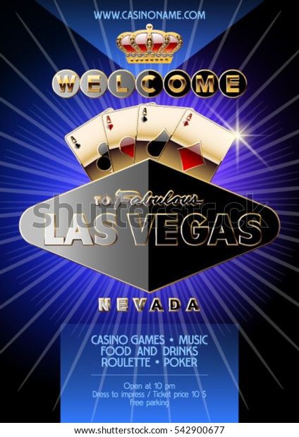Vector exclusive flyer for party in casino in Las Vegas