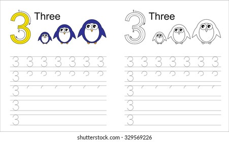 Vector exercise illustrated alphabet. Learn handwriting. Tracing worksheet for figure 3.