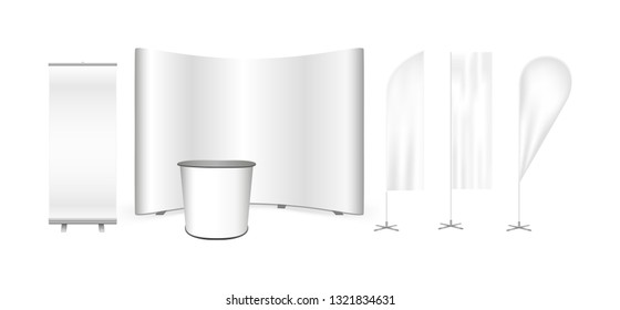 Vector exhibition promo set. Curved pop up trade show stand display, promotion retail trade table, roll up banner and feather advertising promo beach bow flags isolated on a white background.