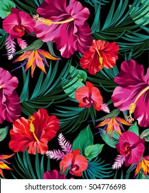 vector exotic floral pattern on black background. for fashion, swimwear, active wear. Amazing palms and flowers.