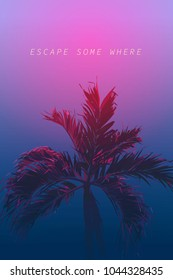 Vector of exotic palm tree, realistic flat style. graphic illustration background/ template, neon violet dark theme with space for texts. nostalgic\ emotion \ aesthetic feeling
