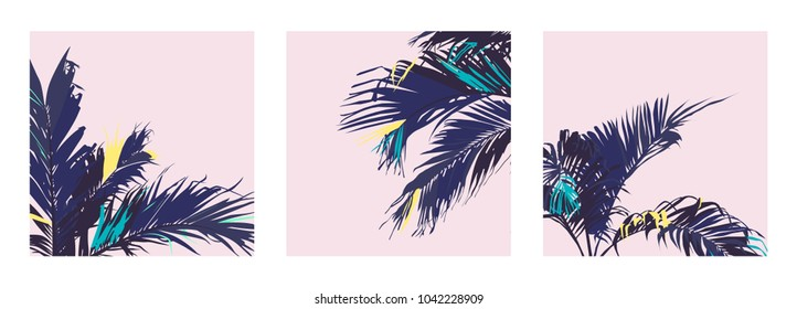Vector of Exotic pastel tropical palm trees leaf, sweet retro vintage pastel colour palette
