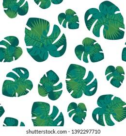 Vector Exotic tropical hawaiian summer. Palm beach tree jungle botanical leaves. Leaf plant botanical garden floral foliage. Isolated leaf illustration element. Seamless print.
