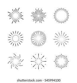 Vector Exploding Fireworks or Sparkles/Stars icon set. Design Elements