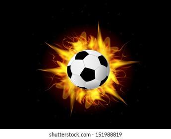 vector exploding illustration of burning fire flame soccer ball on black dark background