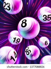 Vector Exploding Purple Bingo / Lottery Number Balls Set on Burst Background