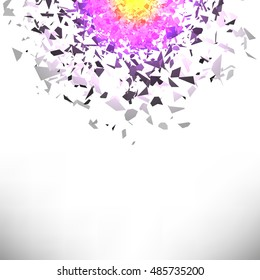 Vector Explosion Cloud of Colorful Pieces on White Background. Sharp Particles Randomly Fly in the Air.