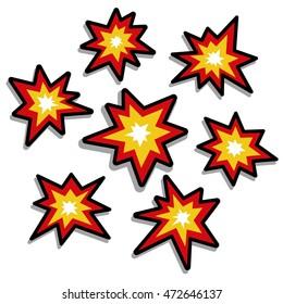 Vector Explosion Isolated On White Background, Seven Stars, Seven Bomb Explode
