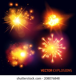 Vector Explosions - collection of fireballs and special effect explosions. Vector illustration.