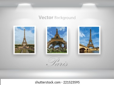 Vector exposition of Eiffel Tower photos. Fully editable eps10