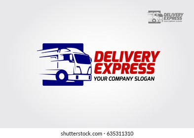 Vector of express delivery logo illustration - Delivery Van Express silhouette
