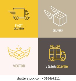 Vector express delivery service logo design elements in trendy linear style - set of flat trucks and boxes emblems