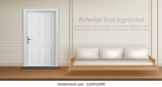 Vector exterior background with veranda facade. Empty terrace with wooden swing hanging on ropes, front door with mat, white wall. Porch of country cottage, place for rest outdoor in private house