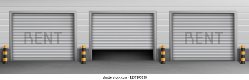 Vector exterior concept background with garage boxes for rent, storage rooms for car parking. Warehouse entrances with open and closed roll shutters, hangar for repair service with metal doorway