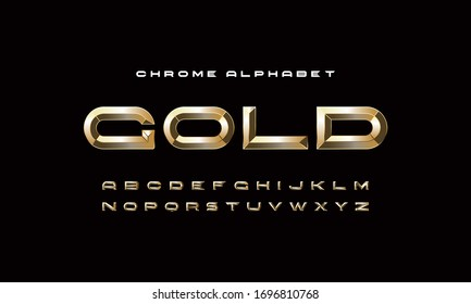 Vector Extra Golden Rich Font. Best Luxury Modern Alphabet Letters, Numbers and Symbols.