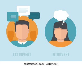 Vector extraversion-introversion infographics in flat style - man and woman with different personality types