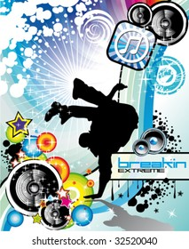 VECTOR Extreme Break Dancing colorful Musical Event Background for Flyers