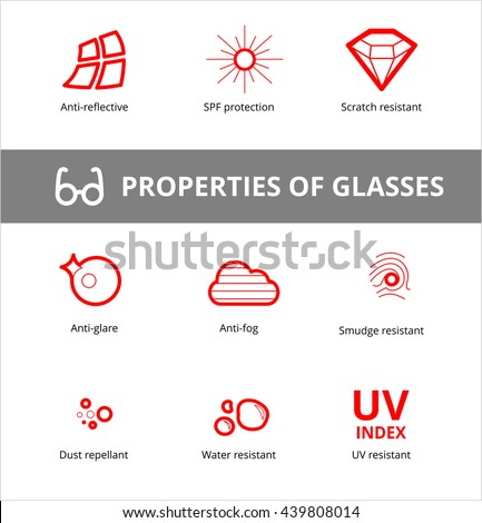 65cb65d358 Vector Eye Care Glasses Properties Ophthalmology Stock Vector ...