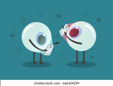 Vector eye cartoon addict smart-phone and light from smart phone impact for visibility with effect confuse,eye care concept.