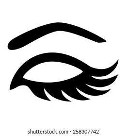 Vector eye closed with long eyelashes monochrome illustration