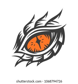 Vector eye of a dragon and monster - illustration, print, emblem design on a white background.