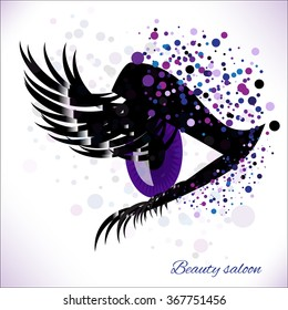 Vector eye with make up and long lashes on white background. False lashes for Beauty Salon Logo, Business Card, Flyer Design.