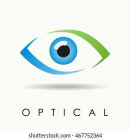 Vector of eye or eye optical shop logo of Ophthalmic Clinic logo, eye observation service symbol or icon, Medicine symbol isolated, Eyesight pictogram, nice colored eye. Colorful Eye Logo vision