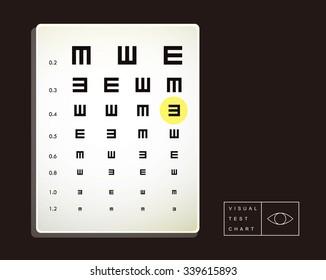vector eye test chart light box / examination of visual /