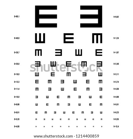 Vector eye test chart optometrist check stock vector royalty free
