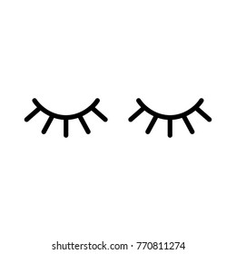 Vector eyelashes. Closed eyes. Vector icon. Cute design