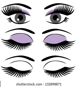 vector eyes with long lashes and make up