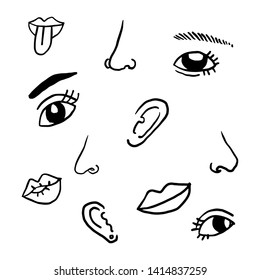 vector eyes, nose, mouth, ears, doodle cartoon face