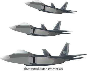 vector F22 raptor jet plane on white background