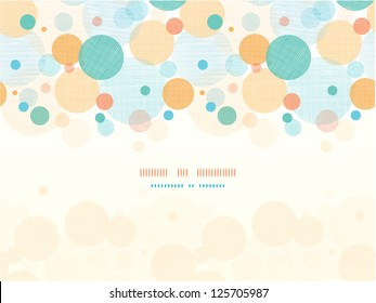 Vector fabric circles abstract seamless horizontal pattern background border with hand drawn elements