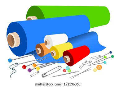 Vector fabric sewing accessories