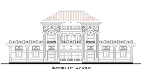 Vector facade design of 2 storey balance classic house with 8 strong columns, symmetrical windows, balconies, ornaments detail, wrought iron railing, concrete balustrade, and steep roof slope.