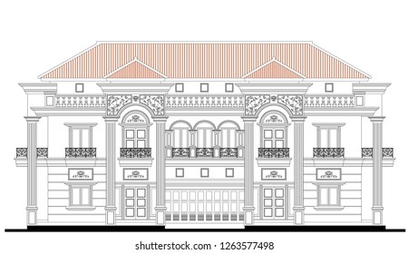 Vector facade design  of two storey classic house with six strong columns, symmetrical windows, balconies, ornaments detail, wrought iron railing, concrete balustrade, and steep roof slope.