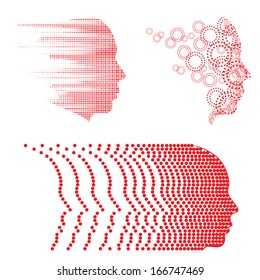 Vector face and head graphics with dot patterns. Easy to edit.