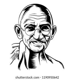 vector face illustration mahatma gandhi jayanti indian freedom fighter