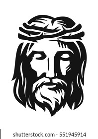 vector Face of Jesus on white background