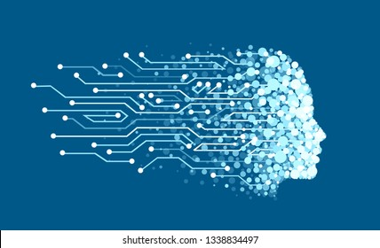 Vector of a face made of digital particles as symbol of artificial intelligence and machine learning. Abstract human head outline with circuit board. Technology and engineering concept